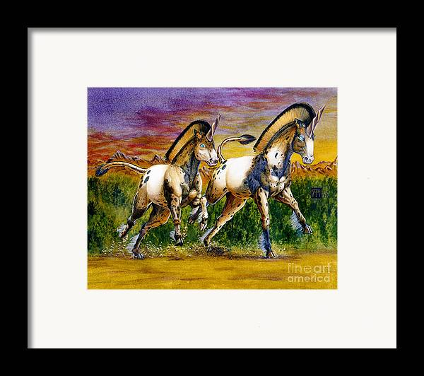 Artwork Framed Print featuring the painting Unicorns In Sunset by Melissa A Benson