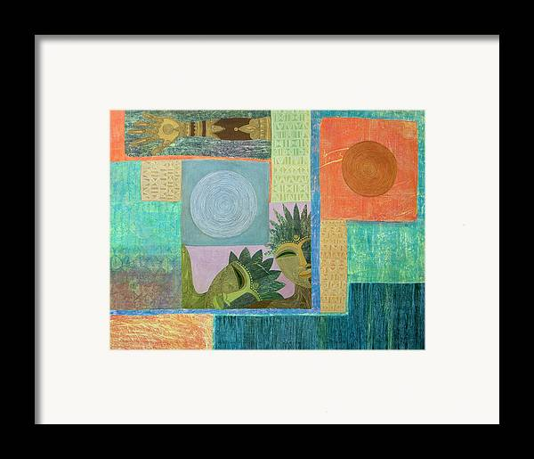 Ethnic African Abstract Sun Moon Texture Sgraffito Exotic Men And Woman Framed Print featuring the painting Union Of The Sun And Moon by Jennifer Baird