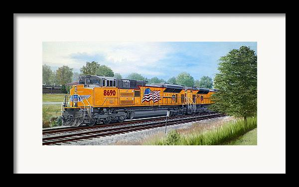 Art Framed Print featuring the painting Union Pacific 8690 by RB McGrath