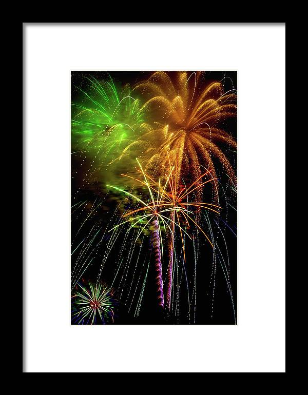 Dazzling Framed Print featuring the photograph Unique Fireworks by Garry Gay