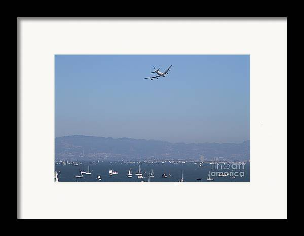 Transportation Framed Print featuring the photograph United Airlines Boeing 747 Over The San Francisco Bay At Fleet Week . 7d7860 by Wingsdomain Art and Photography