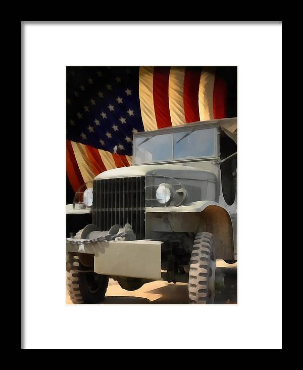 Usa Framed Print featuring the painting United States Army Truck And American Flag by Anne Kitzman