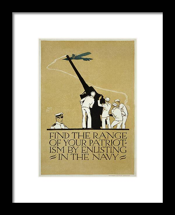 United States Navy Recruitment Poster From 1918. Note The Appeal To Patriotism. Framed Print featuring the painting United States Navy Recruitment Poster From 1918 by Celestial Images