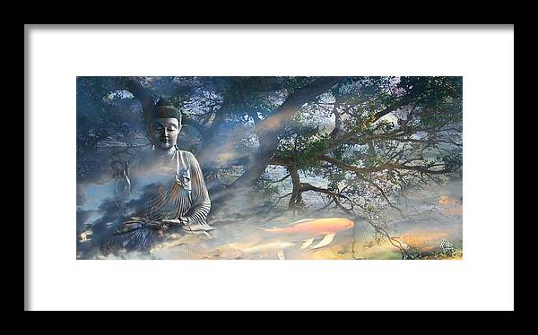 Buddha Framed Print featuring the mixed media Universal Flow by Christopher Beikmann