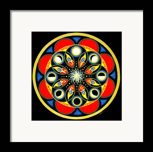 Meditative Mandala Framed Print featuring the painting Universal Light Mandala by Pam Ellis