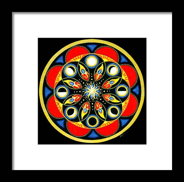 Meditative Mandala Framed Print featuring the painting Universal Light Mandala by Pam Ellis