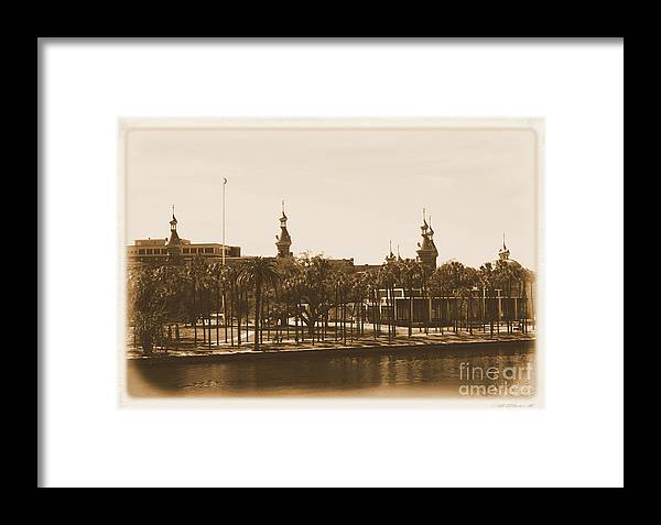 Tampa Framed Print featuring the photograph University Of Tampa - Old Postcard Framing by Carol Groenen