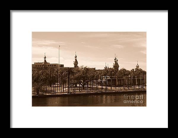Tampa Framed Print featuring the photograph University Of Tampa With River - Sepia by Carol Groenen