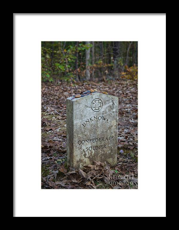 Unknown Soldier Framed Print featuring the photograph Unknown Confederate Soldier - Natchez Trace by Debra Martz
