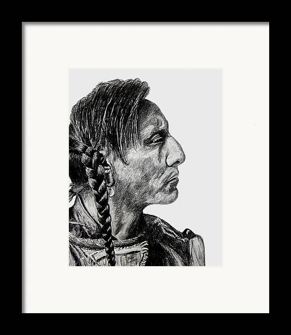 Indian Framed Print featuring the drawing Unknown Indian II by Stan Hamilton