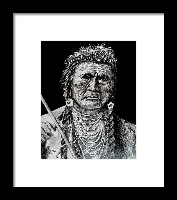 Original Portrait Framed Print featuring the drawing Unknown Indian by Stan Hamilton