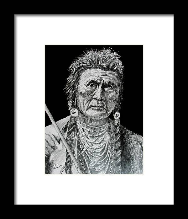 Portrait Framed Print featuring the drawing Unknown Indian V by Stan Hamilton