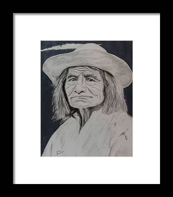 Graphite Framed Print featuring the drawing Unknown Indian Vi by Stan Hamilton