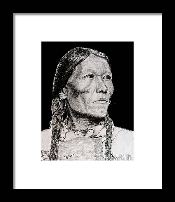 Indian Framed Print featuring the drawing Unknown Indian Vii by Stan Hamilton