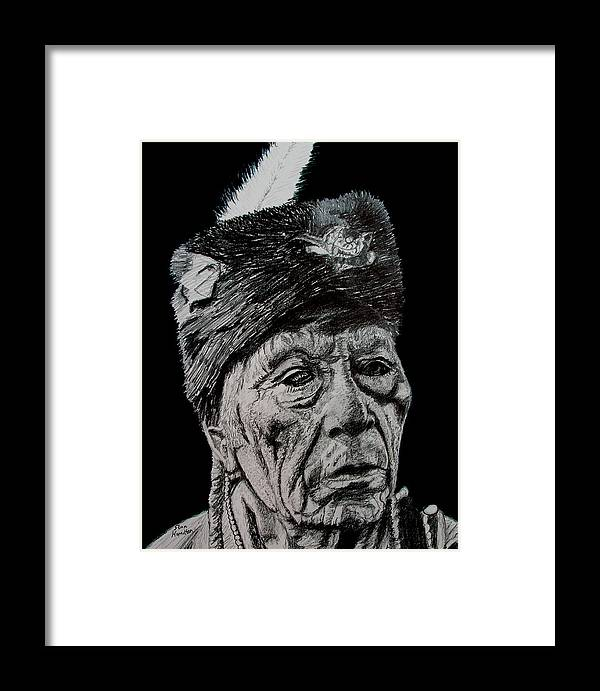 Indian Framed Print featuring the drawing Unkown Indian IIi by Stan Hamilton
