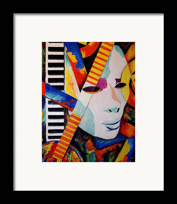 Keyboard Framed Print featuring the mixed media Unmasking The Sound by Angela Green