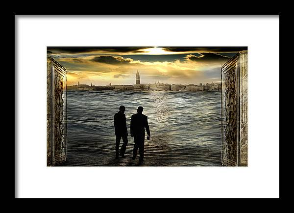 Clouds Doorway Gate Surrealism Horizon Italy Pillar Sea Silhouette Sky Sunset Surrealism Tide Venice Framed Print featuring the photograph Unreal Way To A Real Dream by Desislava Draganova