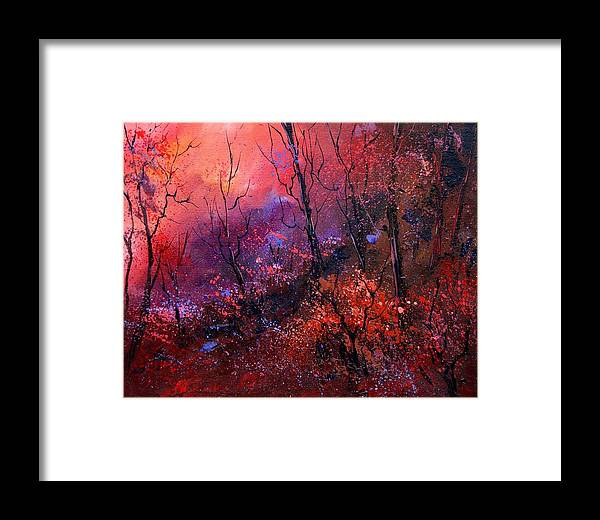 Wood Sunset Tree Framed Print featuring the painting Unset In The Wood by Pol Ledent