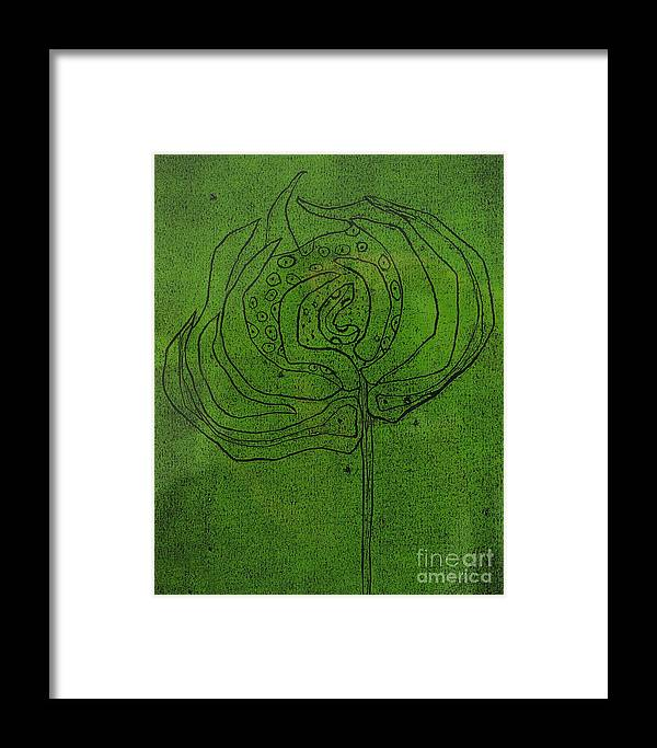 Green Framed Print featuring the painting Untitled by Angela Dickerson