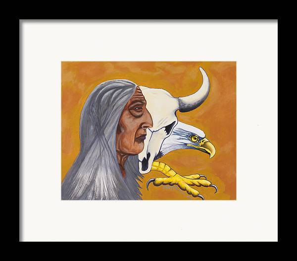 Eagle Framed Print featuring the painting Untitled by Derek Snapps Keenatch