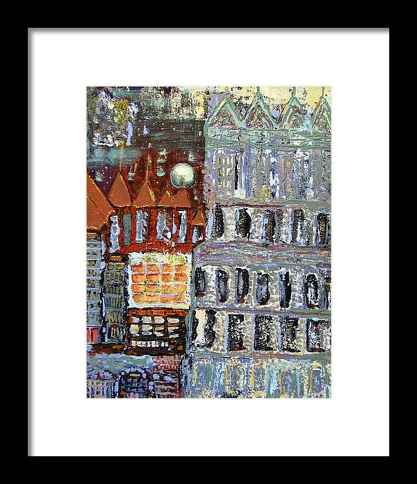 City Framed Print featuring the painting Untitled by Gaye Heidinger