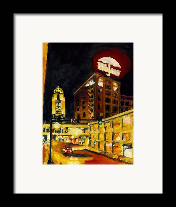 Rob Reeves Framed Print featuring the painting Untitled In Red And Gold by Robert Reeves