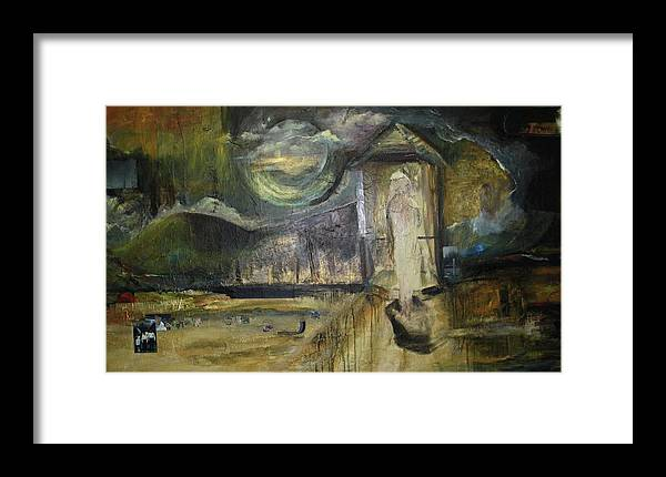Identity Framed Print featuring the painting Rearview Mirror by Patricia Hoffman