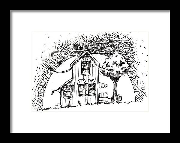 House Framed Print featuring the drawing Untitled by Tobey Anderson