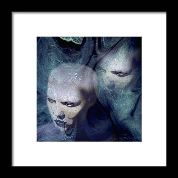 Dream Afterlife Experience Blue Smoke Framed Print featuring the digital art Untitled by Veronica Jackson