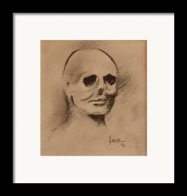 Face Framed Print featuring the drawing Untitled by Victor Amor