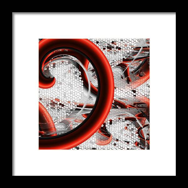 Red Framed Print featuring the digital art Untitled Xvi by Tiia Vissak