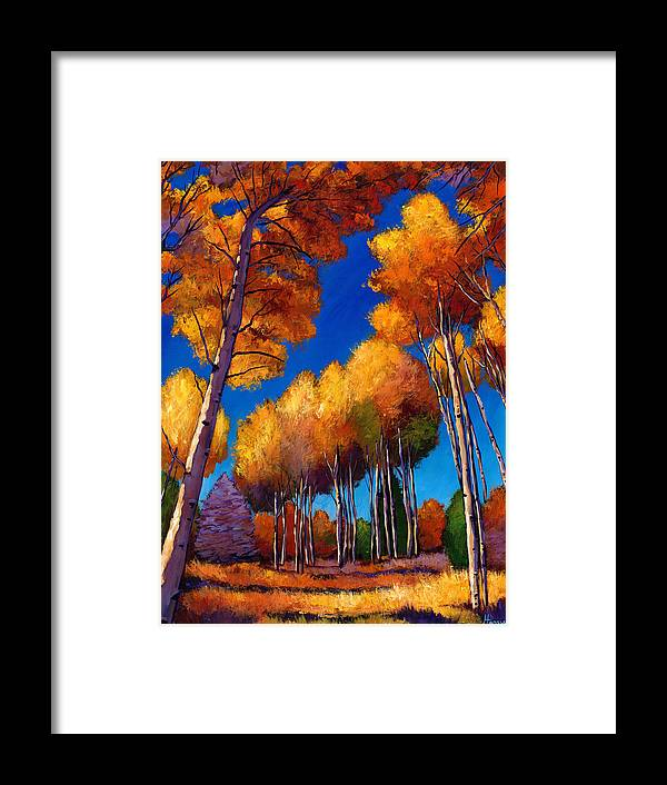 Autumn Aspen Framed Print featuring the painting Up And Away by Johnathan Harris