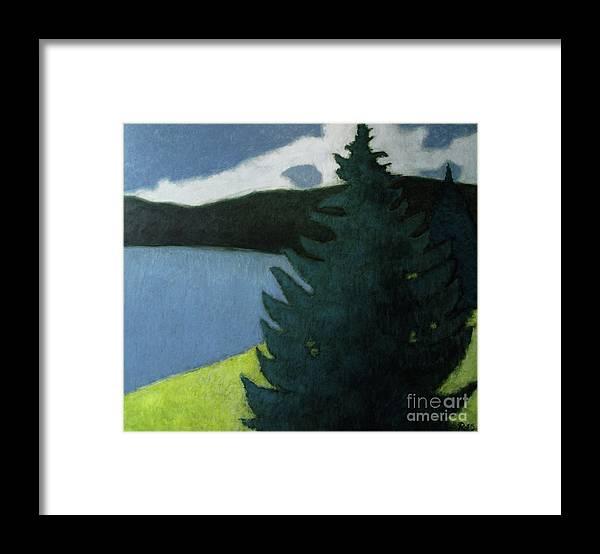 Landscape Framed Print featuring the painting Up- north Landscape by Raimonda Jatkeviciute-Kasparaviciene