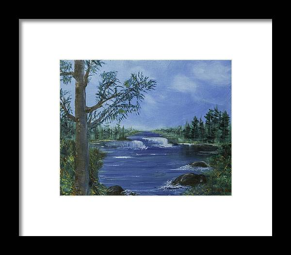 Green Framed Print featuring the photograph Landscape With Waterfall by Jim McGraw