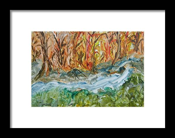 Water Framed Print featuring the painting Up The Creek by Margaret G Calenda