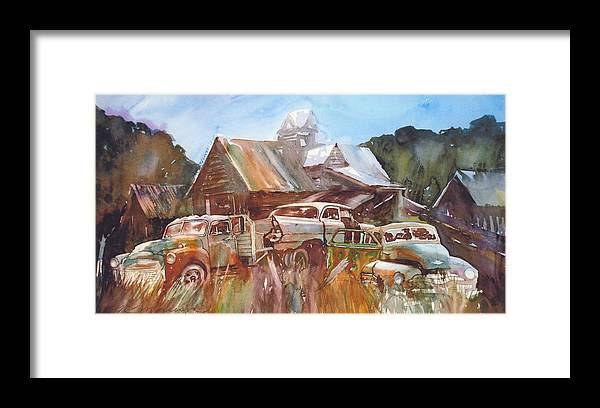Chev Plymouth House Barn Framed Print featuring the painting Up the Road a Bit by Ron Morrison