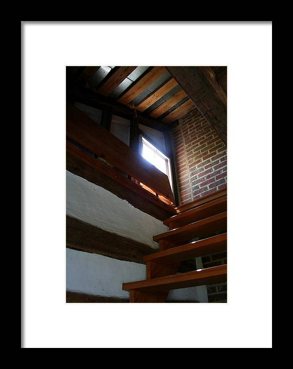 Wooden Steps Framed Print featuring the photograph Up To The Attic by Rebecca Smith
