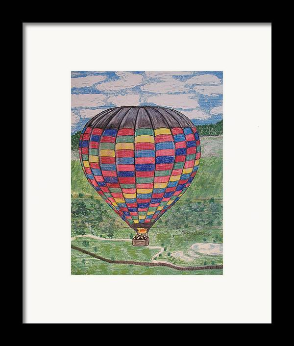 Balloon Ride Framed Print featuring the painting Up Up And Away by Kathy Marrs Chandler