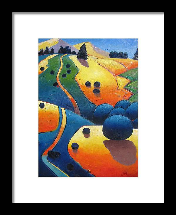 California Hills Framed Print featuring the painting Uphill Climb Revisited. by Gary Coleman