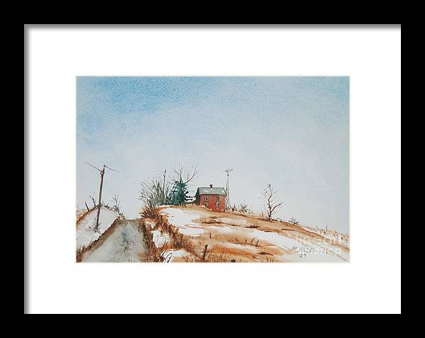 Landscape Framed Print featuring the painting Uphill by Mike Yazel