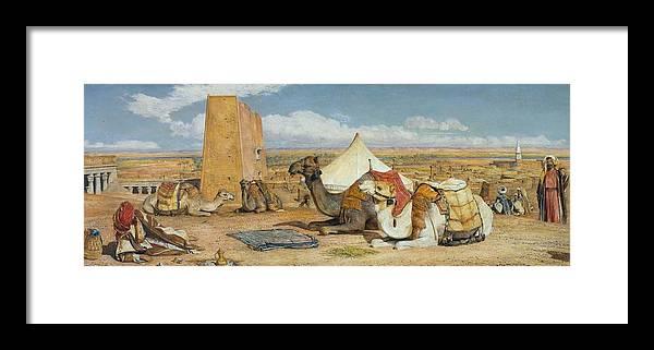 John Frederick Lewis 1805�1876  Edfu Framed Print featuring the painting Upper Egypt by John Frederick