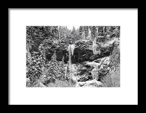Upper Falls In Snow's Cover Framed Print featuring the photograph Upper Falls In Snow's Cover by Wes and Dotty Weber
