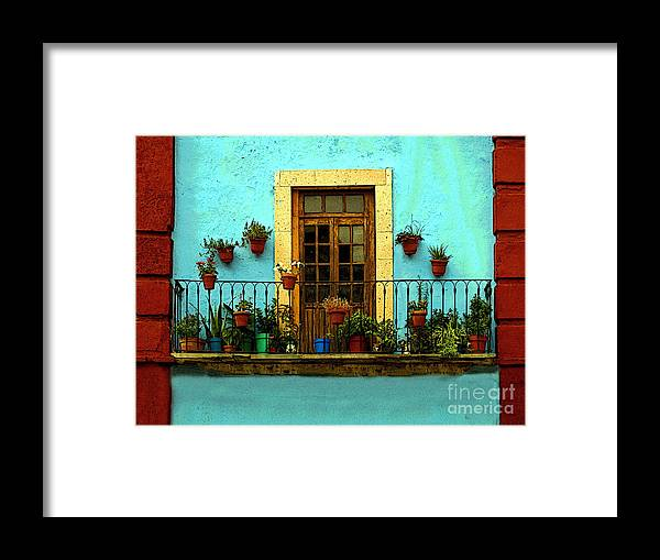 Darian Day Framed Print featuring the photograph Upper Window In Turqoise by Mexicolors Art Photography