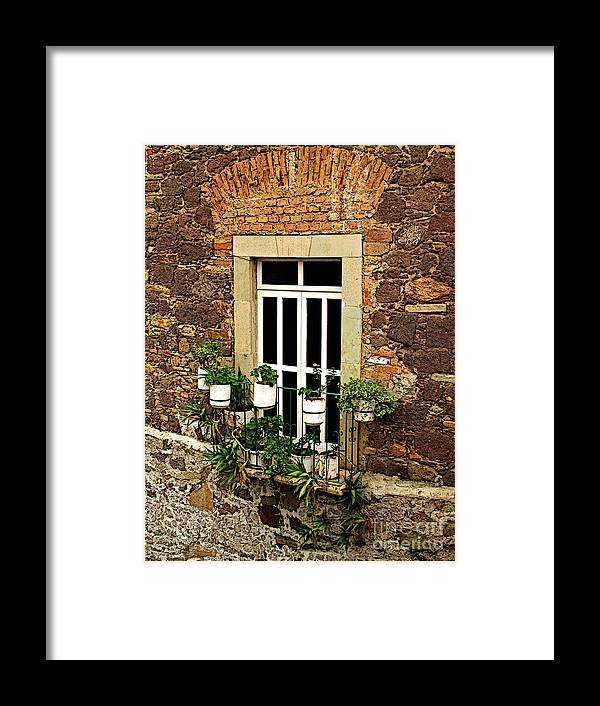Mexicolors.com Framed Print featuring the photograph Upper Window by Mexicolors Art Photography