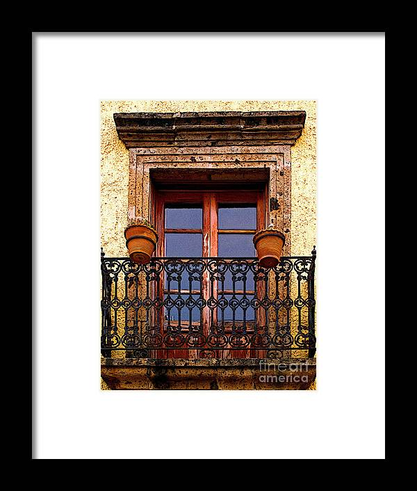 Tlaquepaque Framed Print featuring the photograph Upper Window Tlaquepaque by Mexicolors Art Photography