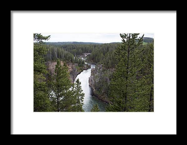 Yellowstone National Park Framed Print featuring the photograph Upper Yellowstone Falls by Linda Kerkau