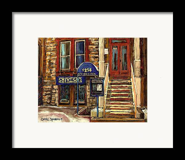 Upstairs Bar And Grill Framed Print featuring the painting Upstairs Jazz Bar And Grill Montreal by Carole Spandau