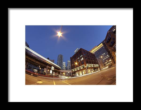 Urban Dusk Scene Framed Print featuring the photograph Urban Curves Of Light by Sven Brogren