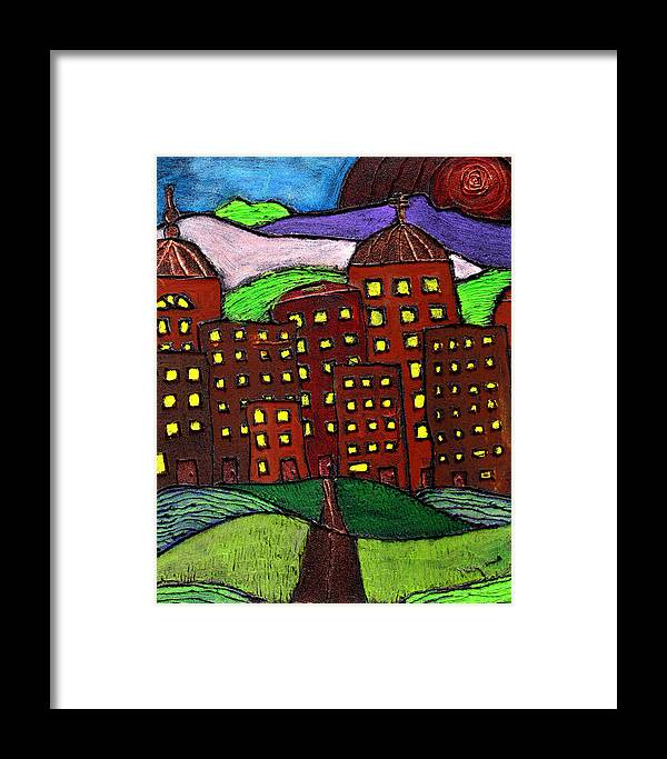 City Scape Framed Print featuring the painting Urban Legand by Wayne Potrafka