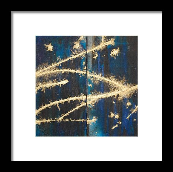 Night Framed Print featuring the painting Urban Nightscape by Lauren Luna
